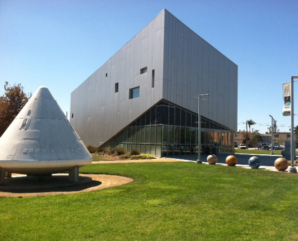 The Columbia Memorial Space Center sits on part of the old NASA/Rockwell site in Downey, Calif. where the Apollo Space Program and Space Shuttle program began. The Boilerplate #12 (left) was a test capsule for the program. The center is open to the public throughout the week. (Photo by Alicia Edquist)