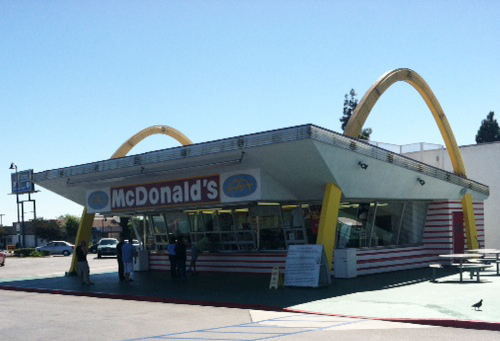 World's Oldest Operating McDonald's on the corner of Lakewood Boulevard and Florence Avenue calls Downey, Calif. home. Known for is famous architecture and golden arches, the McDonald's is privately owned and operated. In 1994, it was put on the National Trust for Historic Preservation's 11 Most Endangered Historic Places list after the Northridge Earthquake has caused damage to the McDonald's and it closed its windows. Between the city, LA Conservancy and residents were able to save the world's oldest operating McDonald's in 1996 and reopen to the community. (Photo by Alicia Edquist)